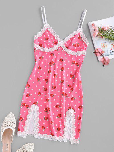 ZAFUL Strawberry Dots Print Slip Dress - Light Pink L