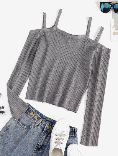 Ribbed Cold Shoulder Plain T-shirt - Light Gray