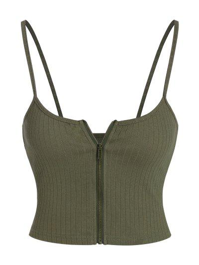 ZAFUL Ribbed Zip Front Crop Camisole - Army Green M