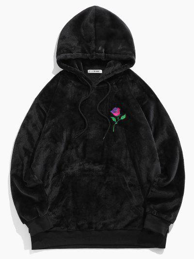 ZAFUL Rose Embroidery Fleece Hoodie - Black S