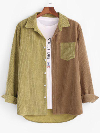 Colorblock Panel Pocket Patch Corduroy Shirt - Coffee Xl