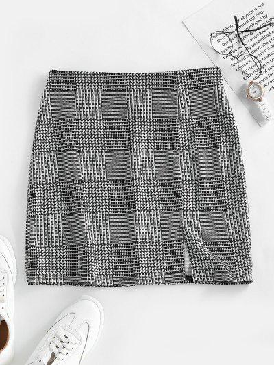 ZAFUL Glen Check Front Slit Mini Skirt - Black M