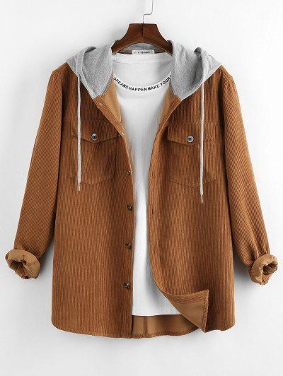 ZAFUL Colorblock Corduroy Hooded Shirt Jacket - Coffee M