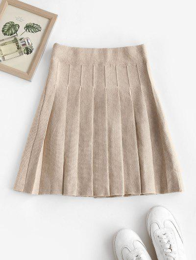 High Waisted Knitted Pleated Skirt - Warm White
