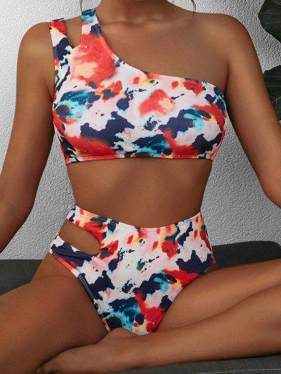 ZAFUL Tie Dye Ribbed One Shoulder Cutout Tankini Swimwear - Multi S