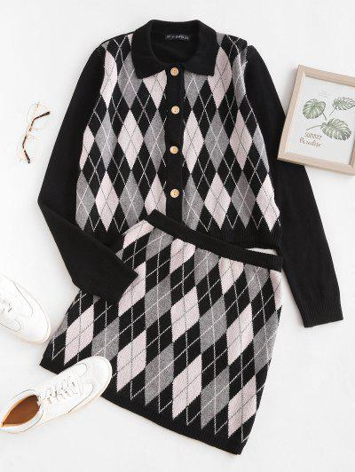Button Up Two Piece Argyle Cardigan Set - Black