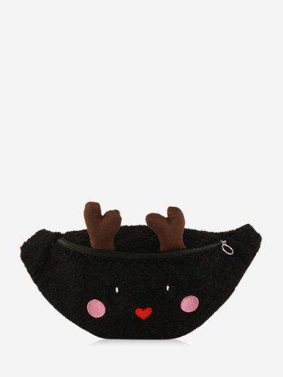 Christmas Cartoon Elk Crossbody Bag - Black