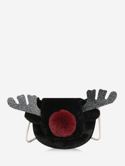 Christmas Elk Faux Fur Crossbody Bag - Black