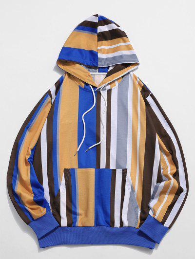 Colorblock Striped Front Pocket Drawstring Hoodie - Multi 2xl