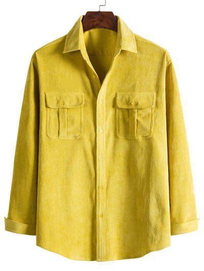 Double Pockets Button Down Corduroy Shirt - Bright Yellow M
