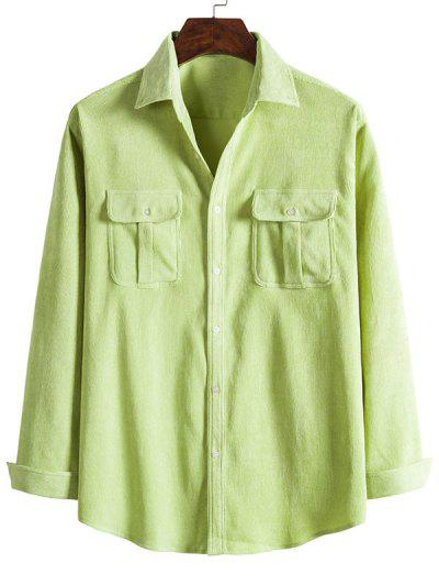 Double Pockets Button Down Corduroy Shirt - Tea Green M