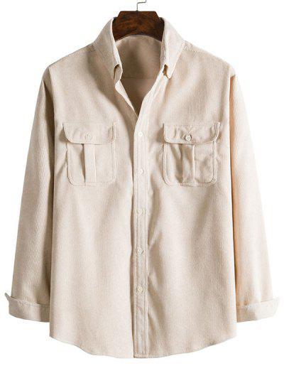 Double Pockets Button Down Corduroy Shirt - Beige 2xl