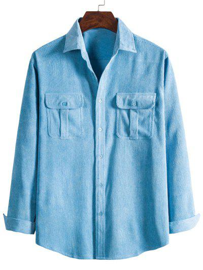 Double Pockets Button Down Corduroy Shirt - Crystal Blue 3xl