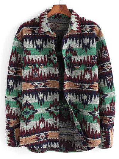 Ethnic Tribal Pattern Pocket Button Up Jacket - Green M