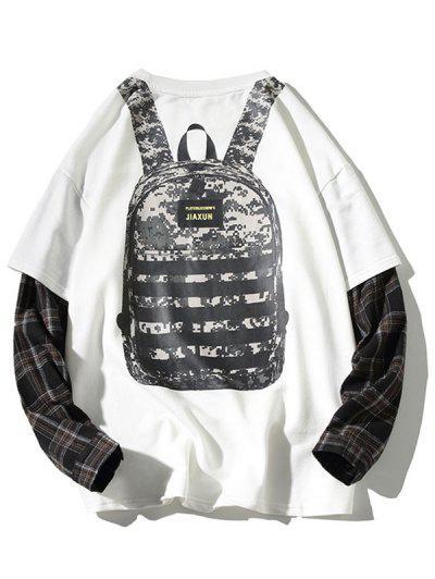 Backpack Print Plaid Faux Twinset Sweatshirt - White L