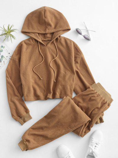 ZAFUL Faux Fur Cropped Hoodie And Pants Set - Tiger Orange S