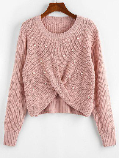 ZAFUL Faux Pearl Embellished Twisted Sweater - Light Pink L