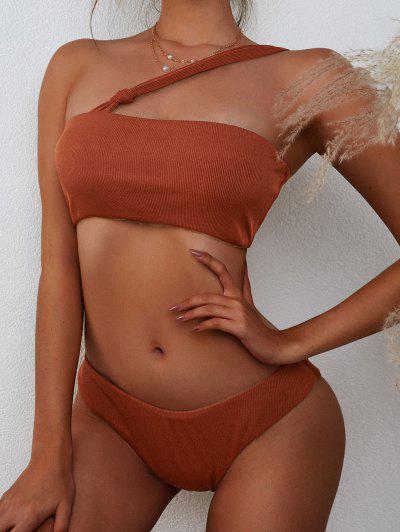 ZAFUL Pețiol și Un Umăr înnodate Brazilian Bikini Costume De Baie - Cafea L