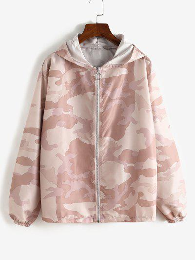 Zip Up Hooded Camouflage Windbreaker Jacket - Pink M