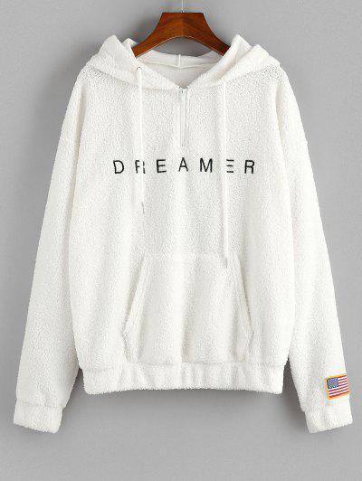 ZAFUL American Flag Dreamer Embroidered Quarter Zip Teddy Hoodie - White M