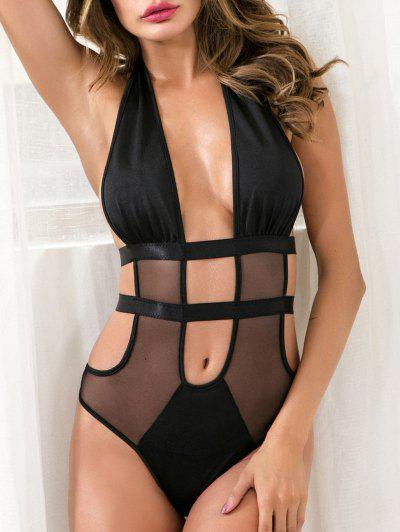 Mesh Panel Backless Bandage Lingerie Teddy - Black M