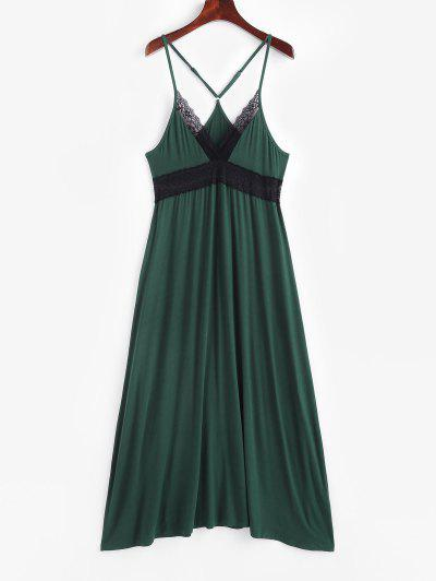 Sleep V-back Lace Panel Nightgown - Dark Green S