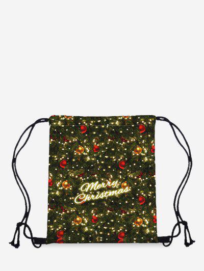 Bolsa De Asas Texturada Digital Estampado Letra De Navidad - Verde De Bosque Oscuro