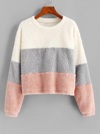 ZAFUL Plush Faux Fur Color Blocking Sweatshirt - Multi-a S