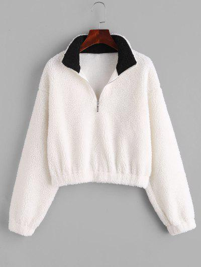 ZAFUL Half Zip Drop Shoulder Teddy Sweatshirt - White M