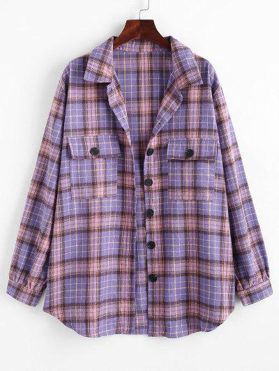 Flap Pockets Plaid Tartan Flannel Shacket - Purple S