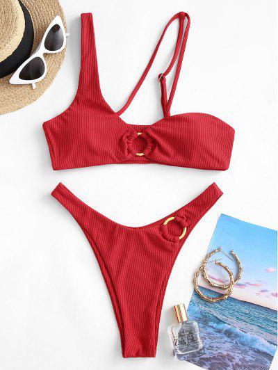 ZAFUL Maillot De Bain Bikini Côtelé Anneau En O - Rouge Foncé L