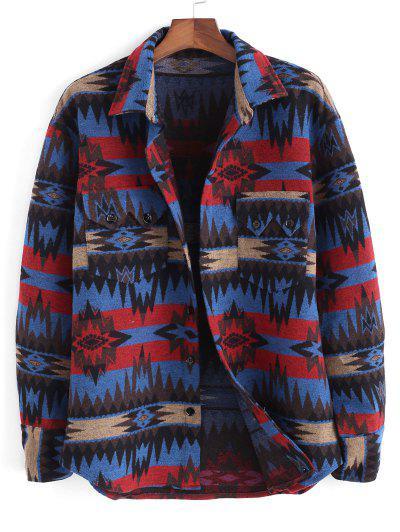 Ethnic Tribal Pattern Pocket Button Up Jacket - Blue L