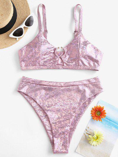 ZAFUL Metallischer Scaledruck Ring Bikini Badebekleidung Mit Hohem Schnitt - Pink M