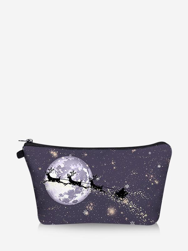 Christmas Elk Moon Print Makeup Bag