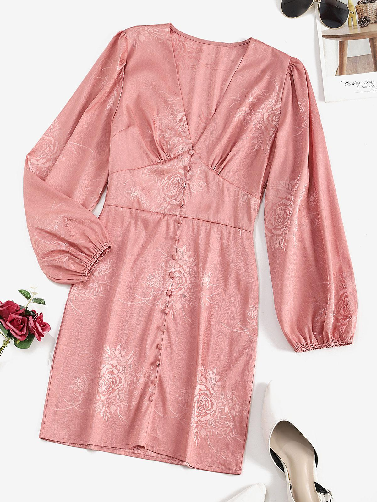 Buttoned Front Floral Jacquard Long Sleeve Dress