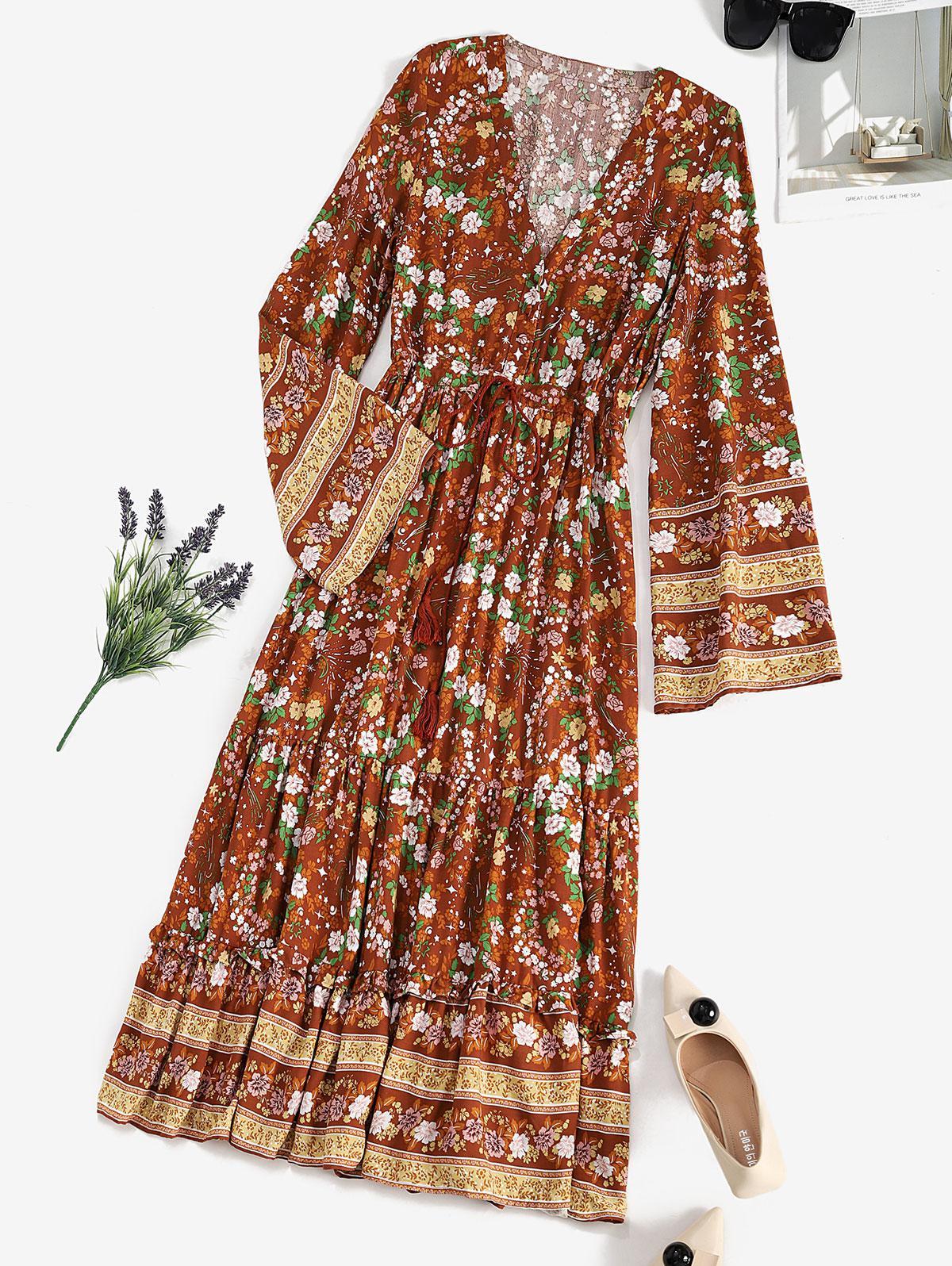 Drawstring Waist Floral Tassels Bohemian Dress