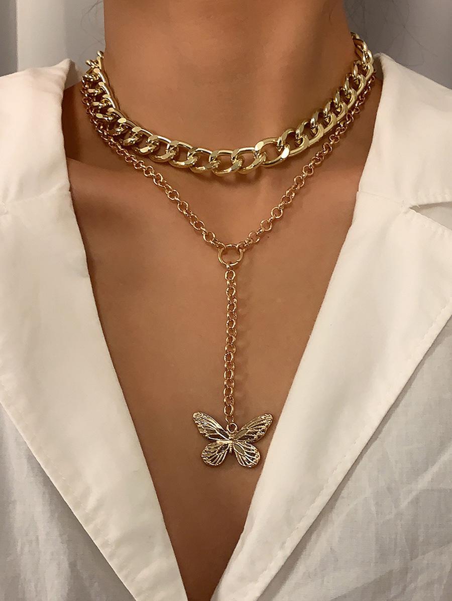 2Pcs Butterfly Pendant Necklace Set