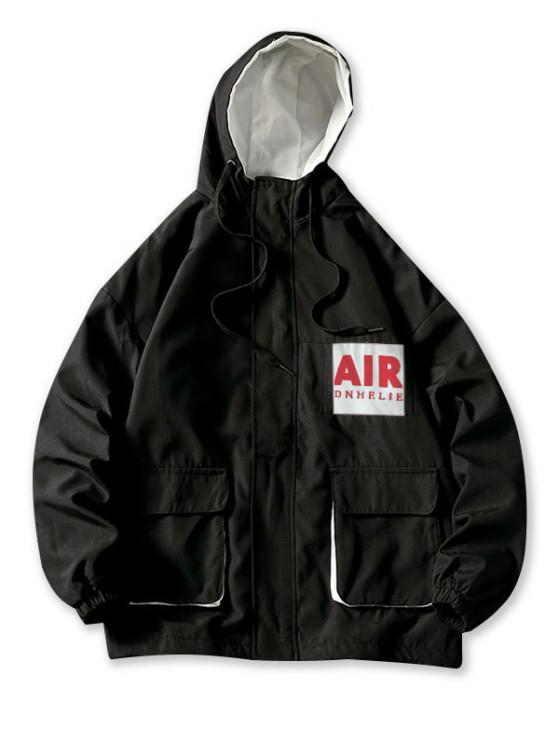 Letter Print Patch Flap Pocket Cargo Hooded Jacket - أسود 2XL
