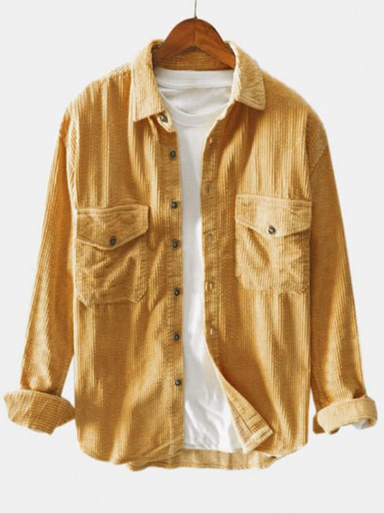 chic Double Pockets Button Up Corduroy Shirt - CARAMEL M