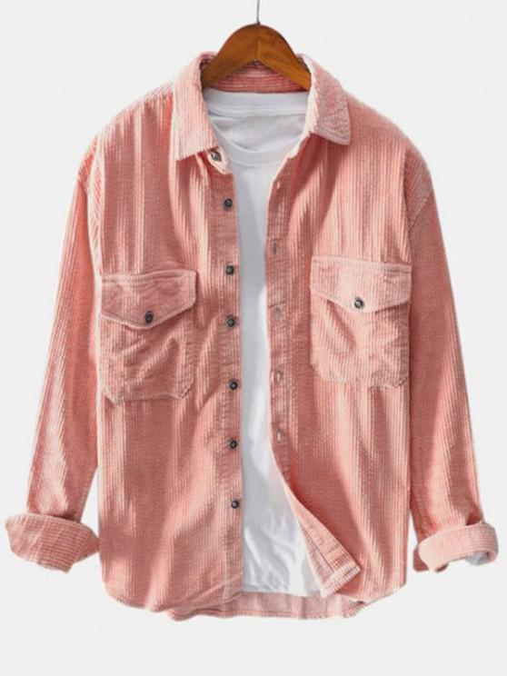 women Double Pockets Button Up Corduroy Shirt - LIGHT PINK XL