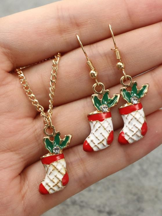 Christmas Stocking Earrings Necklace Set - ذهبي