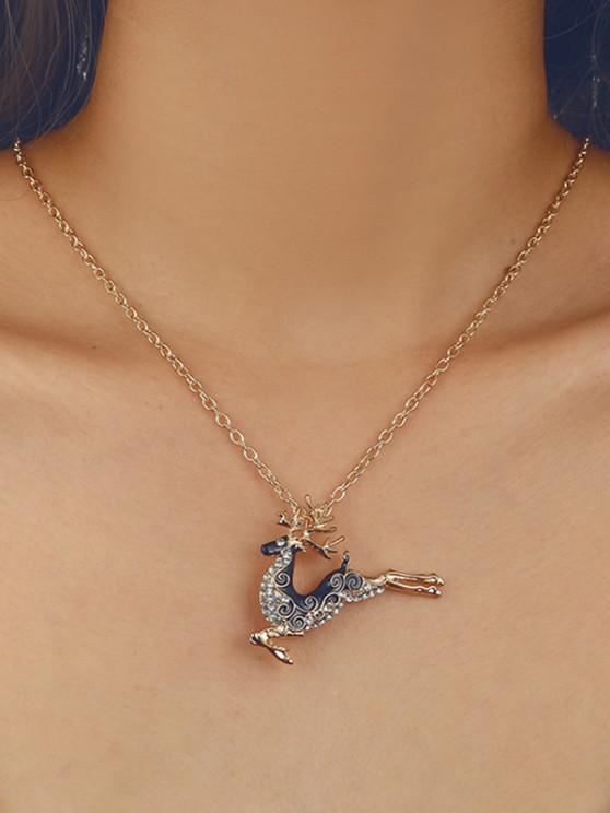 buy Christmas Elk Rhinestone Pendant Necklace - GOLDEN