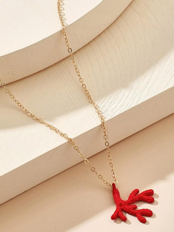 Christmas Antler Pendant Necklace - ذهبي