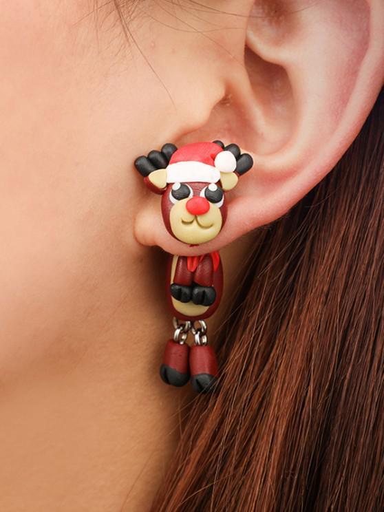 hot Christmas Elk Polymer Clay Earrings - CHESTNUT RED