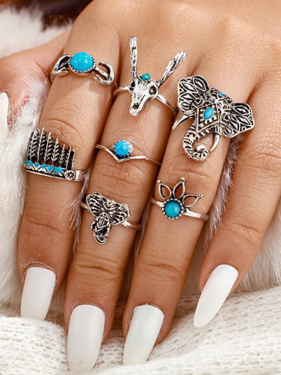 trendy 7Pcs Tribal Elephant Turquoise Rings Set - SILVER