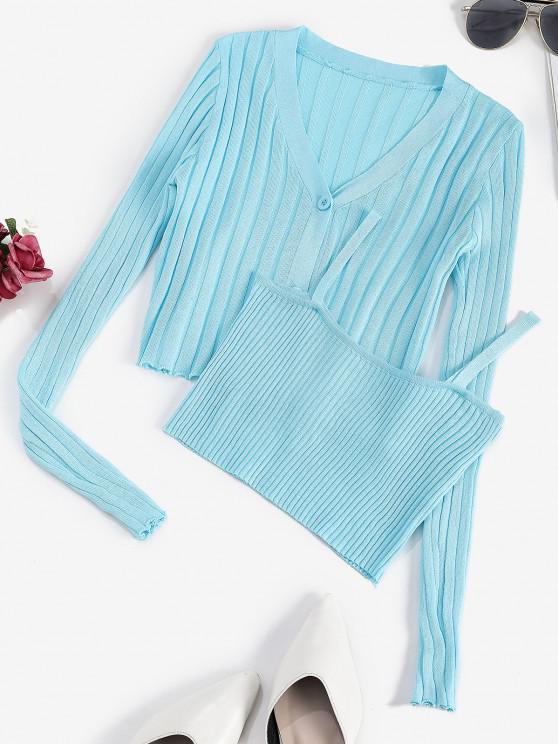 Cardigan Côtelé à Ourlet en Laitue avec Camisole Courte - Bleu clair Taille Unique