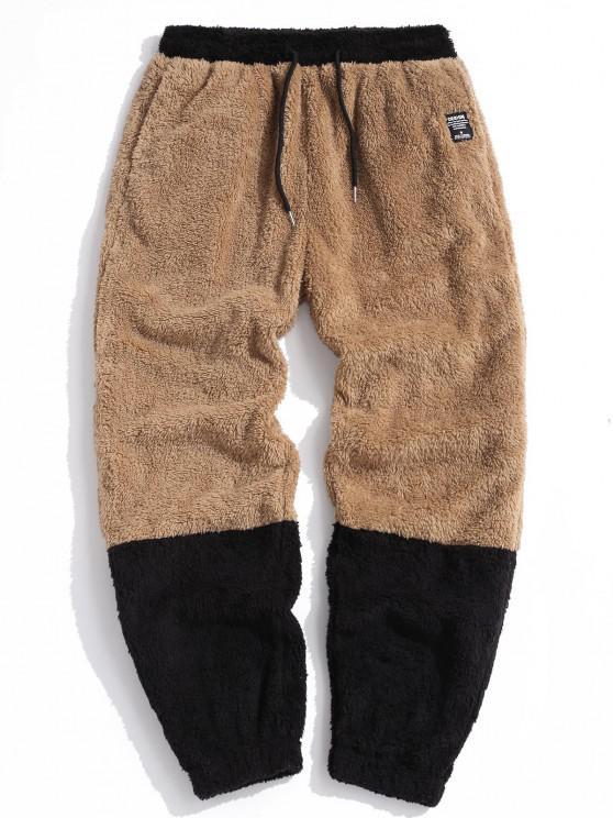 ZAFUL Letter Applique Contrast Faux Fur Fluffy Pants - البني الفاتح 2XL