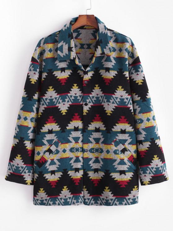 Ethnic Tribal Pattern Knitted Jacket - أزرق S