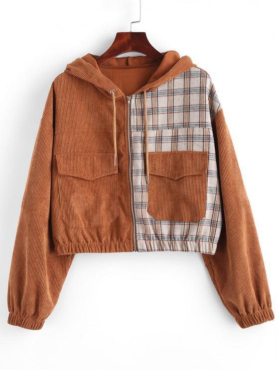 best Hooded Plaid Panel Corduroy Jacket - COFFEE L