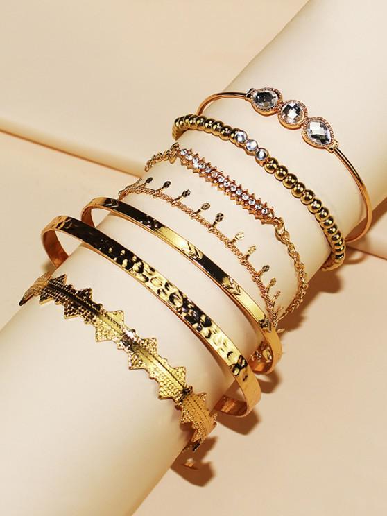 women's 7Pcs Rhinestone Adjustable Bracelet Set - GOLDEN